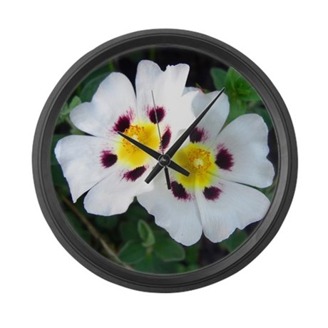 Two White Flowers Large Wall Clock
