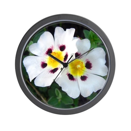 Two White Flowers Wall Clock