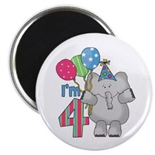 "Lil Elephant 4th Birthday 2.25"" Magnet (100 pack)"
