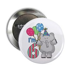 "Lil Elephant 6th Birthday 2.25"" Button"