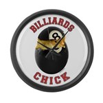 Billiards Chick 2 Large Wall Clock
