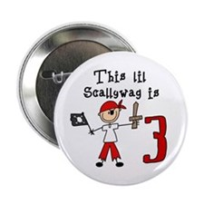 "Stick Pirate 3rd Birthday 2.25"" Button (10 pack)"