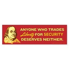 Liberty for Security Franklin Bumper Bumper Sticker
