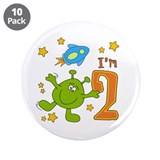 "Lil Alien 2nd Birthday 3.5"" Button (10 pack)"