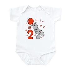 Hippo Balloon 2nd Birthday Infant Bodysuit