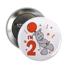 "Hippo Balloon 2nd Birthday 2.25"" Button"