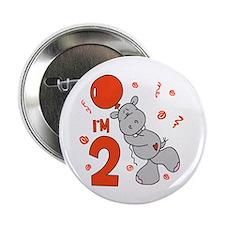 "Hippo Balloon 2nd Birthday 2.25"" Button (10 pack)"