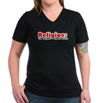 Religion Women's V-Neck Dark T-Shirt