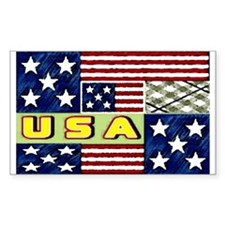 U.S.A. spring quilt Rectangle Stickers