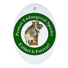 Protect Endangered Species Oval Ornament