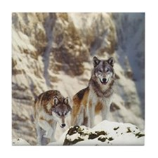 """Wolf Pair"" Tile Coaster"