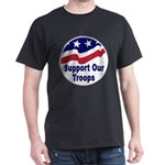 Support Our Troops (Front) Black T-Shirt