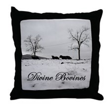 Divine Bovines Throw Pillow