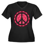 Flower Power Women's Plus Size V-Neck Dark T-Shirt