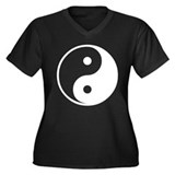 Yin-Yang Women's Plus Size V-Neck Dark T-Shirt