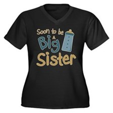 Big Sister To Be Women's Plus Size V-Neck Dark T-S