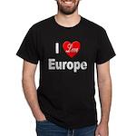 I Love Europe (Front) Black T-Shirt