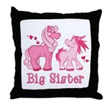 Pink Ponys Big Sister Throw Pillow