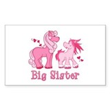 Pink Ponys Big Sister Rectangle Stickers