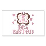 Pink Butterfly Big Sister Rectangle Stickers