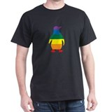 Rainbow Penguin Black T-Shirt