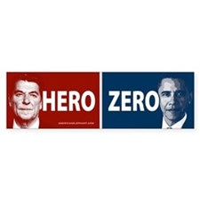 Obama Hero or Zero Bumper Bumper Sticker