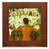 Diego Rivera Art Framed Tile Nude with Cala Lilies