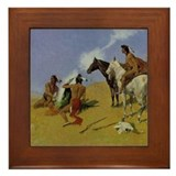 Remington American Indian Smoke Framed Tile
