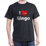I Love Bingo (Front) Black T-Shirt