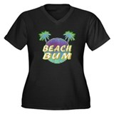 Beach Bum Women's Plus Size V-Neck Dark T-Shirt