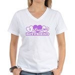 I Love My Boyfriend Women's V-Neck T-Shirt