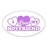 I Love My Boyfriend Oval Sticker (10 pk)