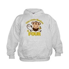Little Monkey 4th Birthday Boy Hoodie