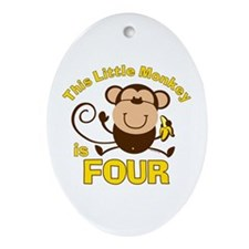 Little Monkey 4th Birthday Boy Oval Ornament