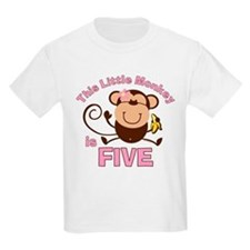 Little Monkey 5th Birthday Girl T-Shirt