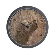 Wood Wolf Pup - Wolf Art Wall Clock