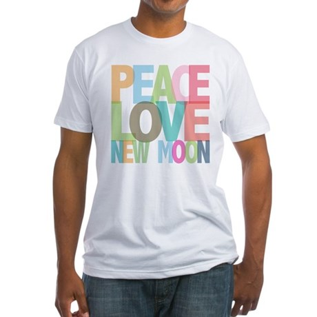 Peace Love New Moon Fitted T-Shirt