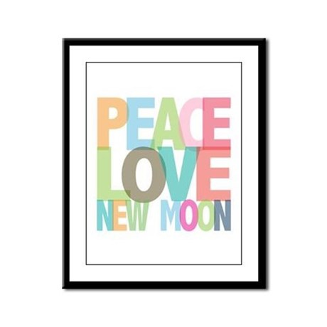 Peace Love New Moon Framed Panel Print
