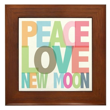 Peace Love New Moon Framed Tile