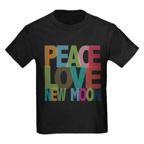 Peace Love New Moon Kids Dark T-Shirt