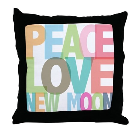 Peace Love New Moon Throw Pillow
