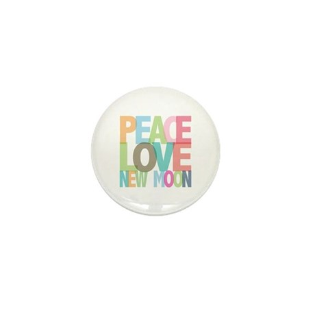 Peace Love New Moon Mini Button