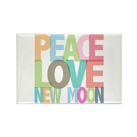 Peace Love New Moon Rectangle Magnet