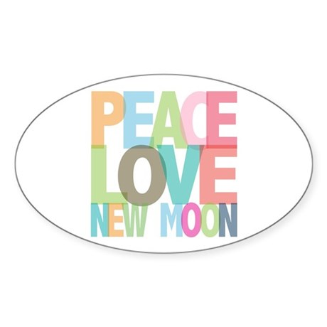 Peace Love New Moon Oval Sticker
