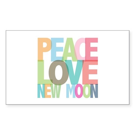 Peace Love New Moon Rectangle Sticker