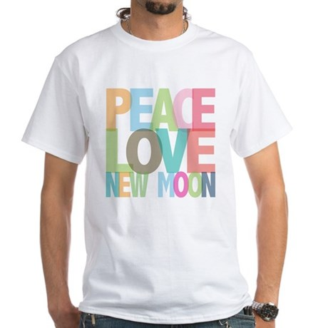 Peace Love New Moon White T-Shirt