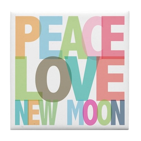 Peace Love New Moon Tile Coaster