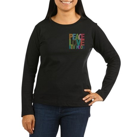 Peace Love New Moon Women's Long Sleeve Dark T-Shi