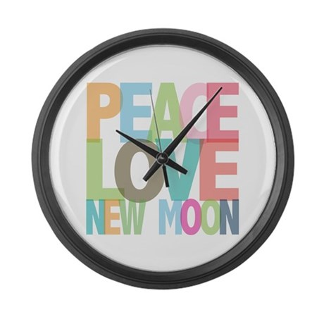Peace Love New Moon Large Wall Clock