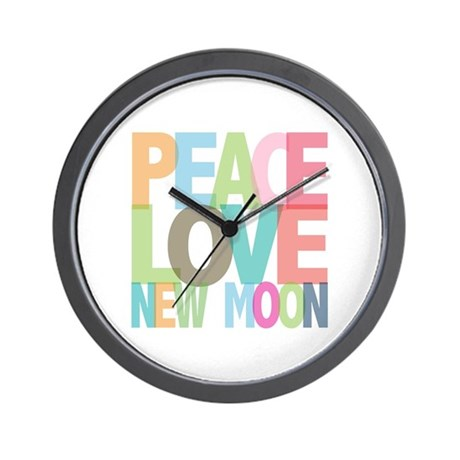 Peace Love New Moon Wall Clock
